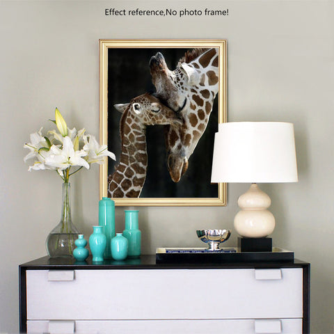 Diamond Painting - Mother and Baby Giraffe - Stili fluttuanti - Ricamo a diamante - Dipingi con diamante