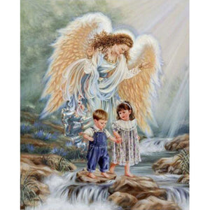 Diamond Painting - Angel With 2 Little Ones - Floating Styles - Diamond Embroidery - Paint With Diamond