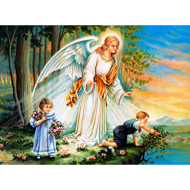 Diamond Painting - Guardian Angel - Flytande stilar - Diamond Broderi - Måla med Diamond