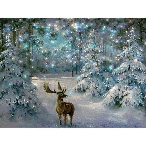 Obraz malarstwa diamentowego - Christmas Moose - Floating Style - Diamond Haft - Paint With Diamond