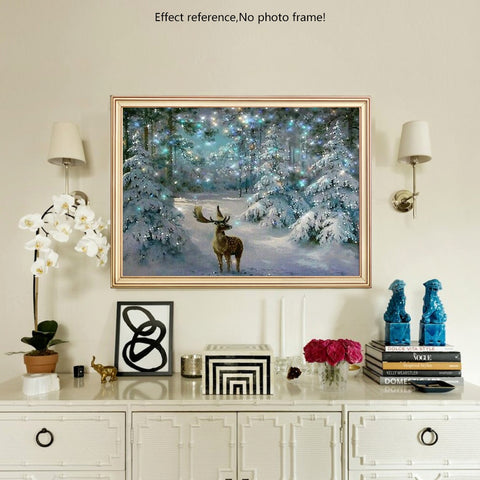 Diamond Painting - Christmas Moose - Floating Styles - Diamond Embroidery - Paint With Diamond