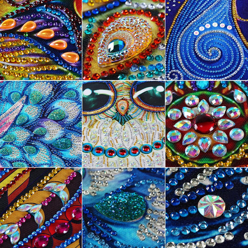 Bedazzled Diamond Painting - Big Eye Owl - Floating Styles - Diamond Embroidery - Paint With Diamond