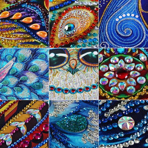 Immagine di Bedazzled Diamond Painting - Sparkle Peacock - Stili fluttuanti - Diamond Embroidery - Paint With Diamond