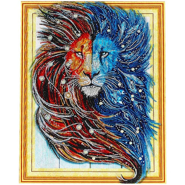 Bedazzled Diamond Painting - Lion Face - Floating Styles - Diamond Embroidery - Paint With Diamond