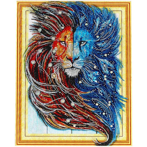 Image of Bedazzled Diamond Painting - Visage de lion - Styles flottants - Broderie à diamants - Peindre avec un diamant