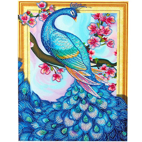 Obraz Bedazzled Diamond Painting - Peacock And Flower - Floating Style - Diamond Haft - Paint With Diamond