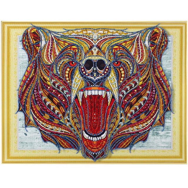 Bedazzled Diamond Painting - Screaming Bear - Floating Styles - Diamond Embroidery - Paint With Diamond