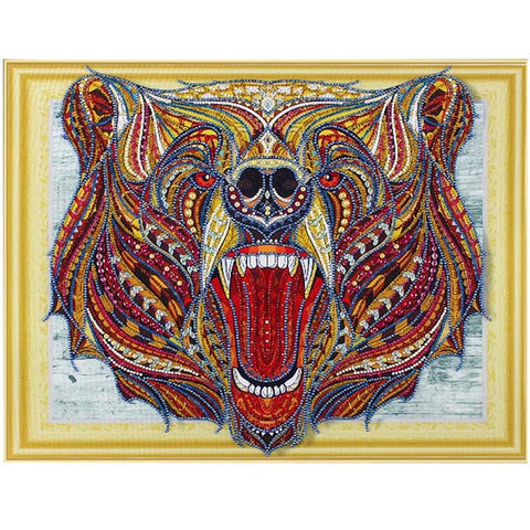 Image of Bedazzled Diamond Painting - Screaming Bear - Floating Styles - Diamond Embroidery - Paint With Diamond
