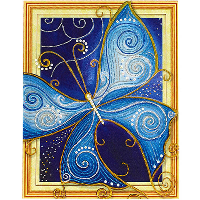 Bedazzled Diamond Painting - Blue Butterfly - Floating Style - Diamond Haft - Paint With Diamond