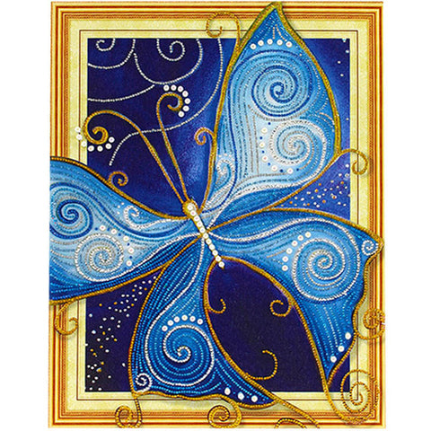 Image of Bedazzled Diamond Painting - Papillon Bleu - Styles Flottants - Broderie Diamant - Peindre avec un diamant