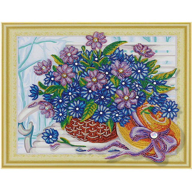 Bedazzled Diamond Painting - Flower in Basket - Floating Styles - Diamond Embroidery - Paint With Diamond