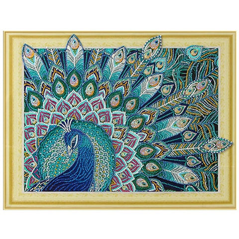 Image of Bedazzled Diamond Painting - Sparkle Peacock - Floating Styles - Diamond Embroidery - Paint With Diamond
