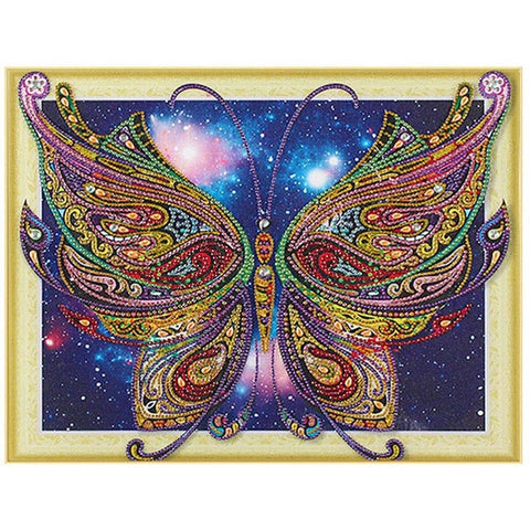 Bedazzled Diamond Maleri - Butterfly i Galaxy - Flytende Stiler - Diamond Broderi - Maling Med Diamond