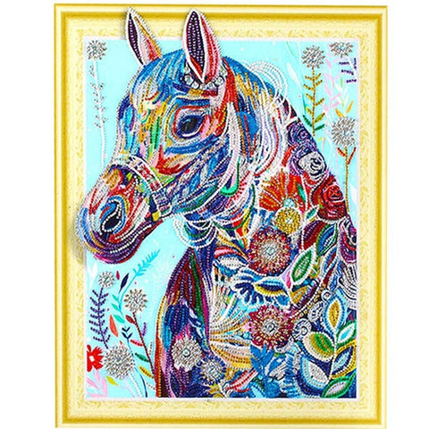 Image of Bedazzled Diamond Painting - Colorful Horse - Floating Styles - Diamond Embroidery - Paint With Diamond