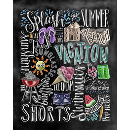 Daimond Painting - Blackboard - Summer Vacation - Floating Styles - Diamond Embroidery - Paint With Diamond