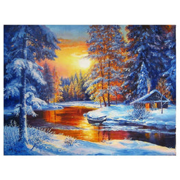 Diamond Painting - Setting Sun In the Snow Field - Floating Styles - Diamond Embroidery - Paint With Diamond