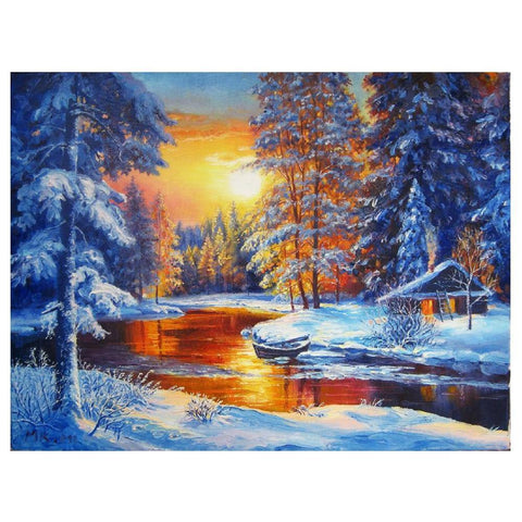 Diamond Painting - Snow Field에서 석양 - 플로팅 스타일 - Diamond Embroidery - Diamond로 페인트