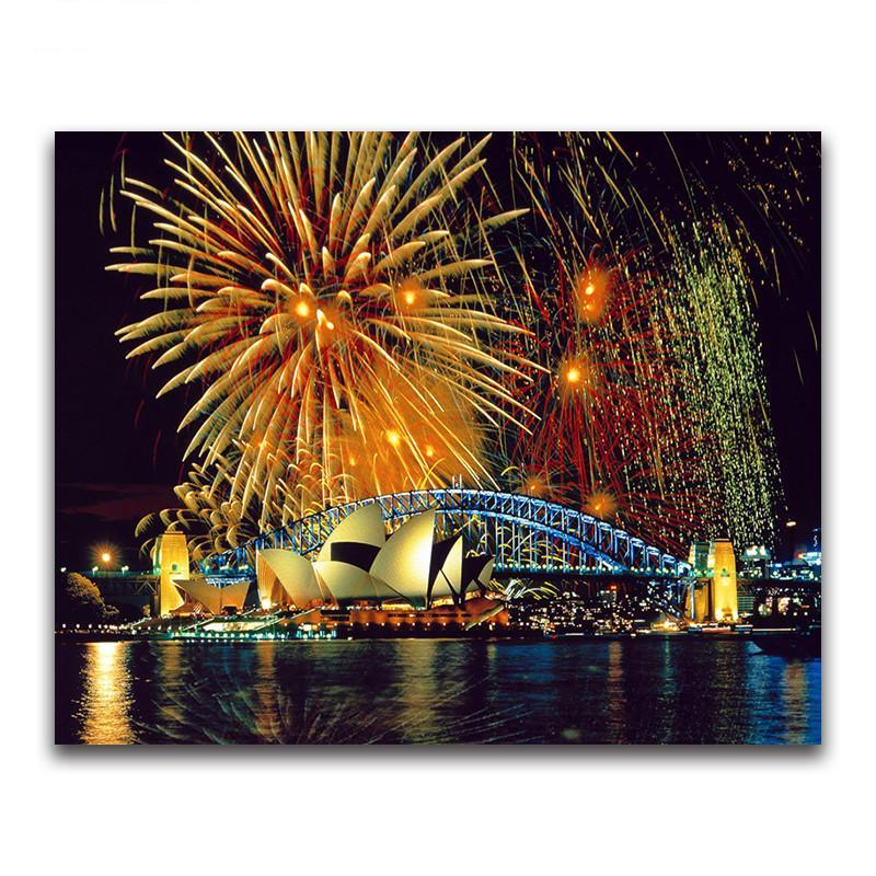 Diamond Painting - Fireworks & Sydney Opera House - Floating Styles - Diamond Embroidery - Paint With Diamond