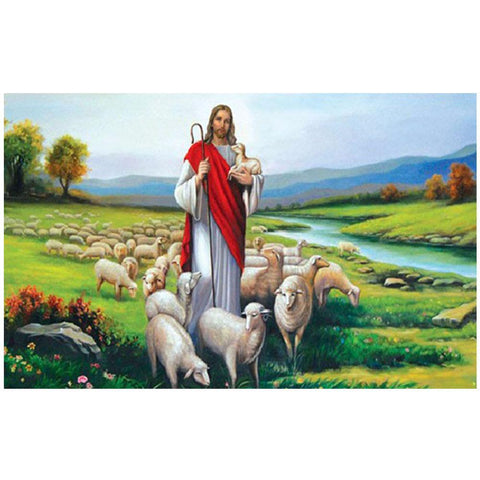 Image of Diamond Painting - Jésus et Moutons - Styles Flottants - Broderie Diamond - Peindre avec un diamant
