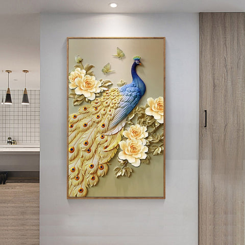 Image of Diamond Painting - Peacock With Golden Tail Feathers - Floating Styles - Diamond Embroidery - Paint With Diamond