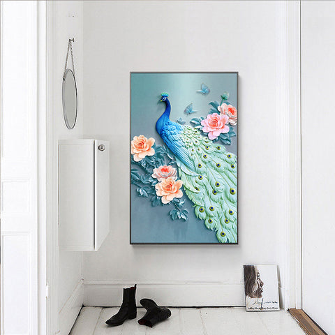 Diamond Painting - Peacock And Peony - Floating Styles - Diamond Embroidery - Diamond로 페인트하기