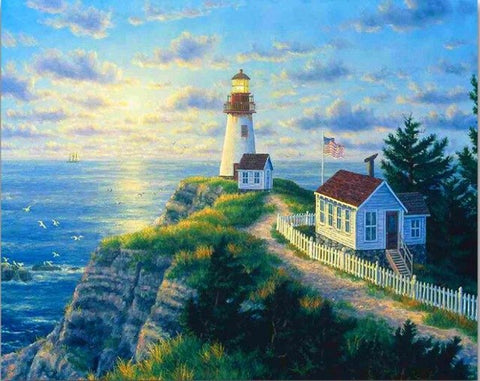 Image of Diamond painting - Lighthouse - 4 - Floating Styles - Diamond Embroidery - Paint With Diamond
