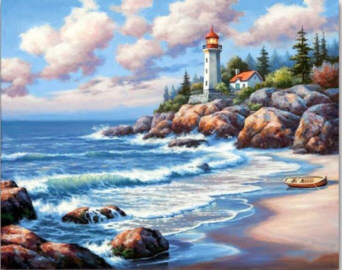 Diamond painting - Lighthouse - 7 - Floating Styles - Diamond Embroidery - Paint With Diamond