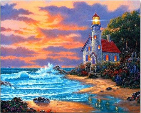 Afbeelding van Diamond Painting - Lighthouse - 13 - Floating Styles - Diamond Embroidery - Paint With Diamond
