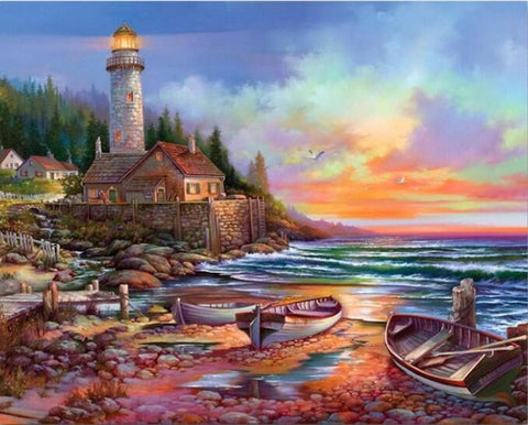 Afbeelding van Diamond Painting - Lighthouse - 14 - Floating Styles - Diamond Embroidery - Paint With Diamond