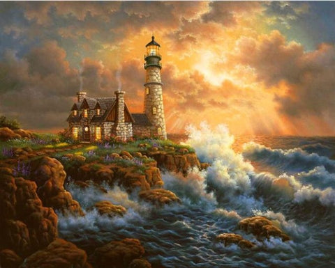 Image of Diamond painting - Lighthouse - 16 - Floating Styles - Diamond Embroidery - Paint With Diamond