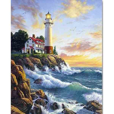 Afbeelding van Diamond Painting - Lighthouse - 24 - Floating Styles - Diamond Embroidery - Paint With Diamond