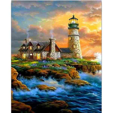 Afbeelding van Diamond Painting - Lighthouse - 25 - Floating Styles - Diamond Embroidery - Paint With Diamond