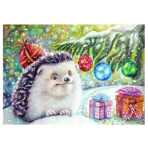 Afbeelding van Diamond Painting - Christmas Hedgehog - Drijvende stijlen - Diamond Embroidery - Paint With Diamond