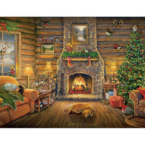 Image of Diamond Painting - Christmas Cabin - Floating Styles - Diamond Embroidery - Paint With Diamond
