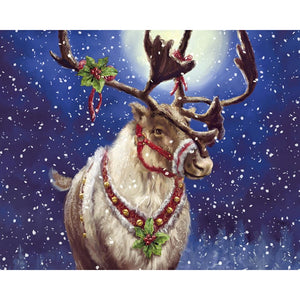 Diamond Painting - Furry Christmas Moose - Floating Styles - Diamond Embroidery - Paint With Diamond
