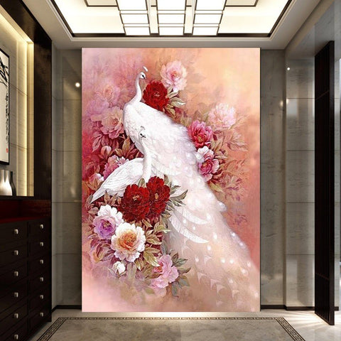 Image of Diamond Painting - White Peacock And Flower - Floating Styles - Diamond Embroidery - Paint With Diamond