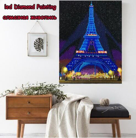 Imagen del taladro redondo completo LED Light Diamond Painting 30x40cm