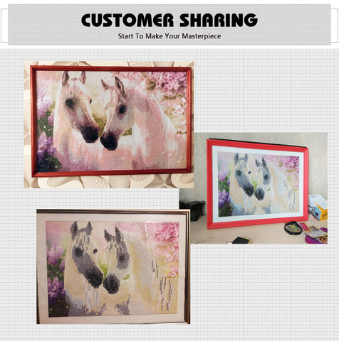 Diamond Painting - Miracle White Horses - Stili fluttuanti - Ricamo a diamante - Dipingi con diamante