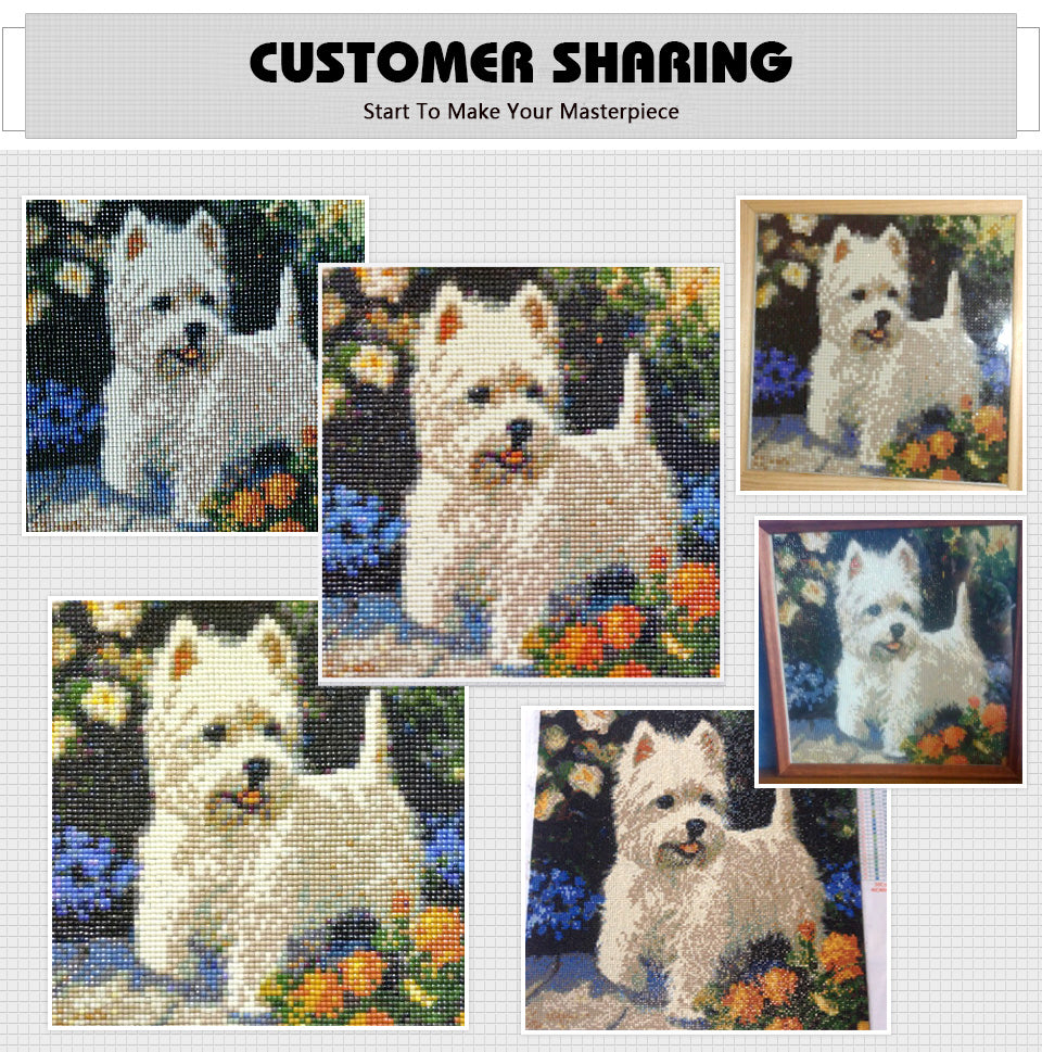 Diamond Painting - Westie Dog - Floating Styles - Diamond Embroidery - Paint With Diamond