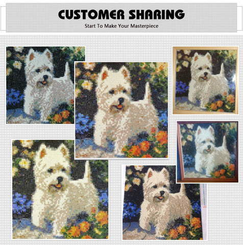 Diamantmaleri - Westie Dog - Flytende stiler - Diamantbroderi - Maling med Diamond