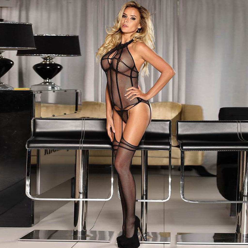 Plus Size Fishnet Black Bodystocking
