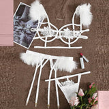 Sexy 3pcs Embroidery Applique Feather Bra Panty Set With Underwire
