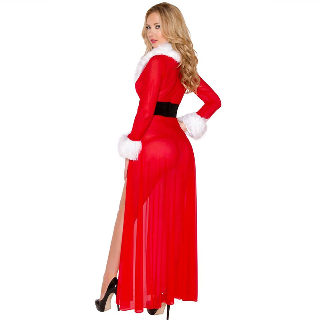 Womens Christmas Sexy Long Sleepwear Fluffy Fur Belt Underwear Night Dress Coat