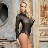 Black Long Sleeve Mesh Rhinestone Sexy Women Transparent Teddy