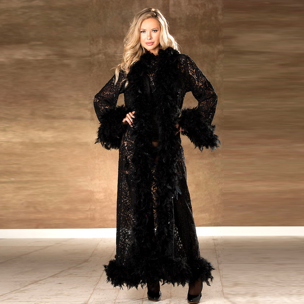 MARABEL SEQUIN LACE AND FEATHER ROBE