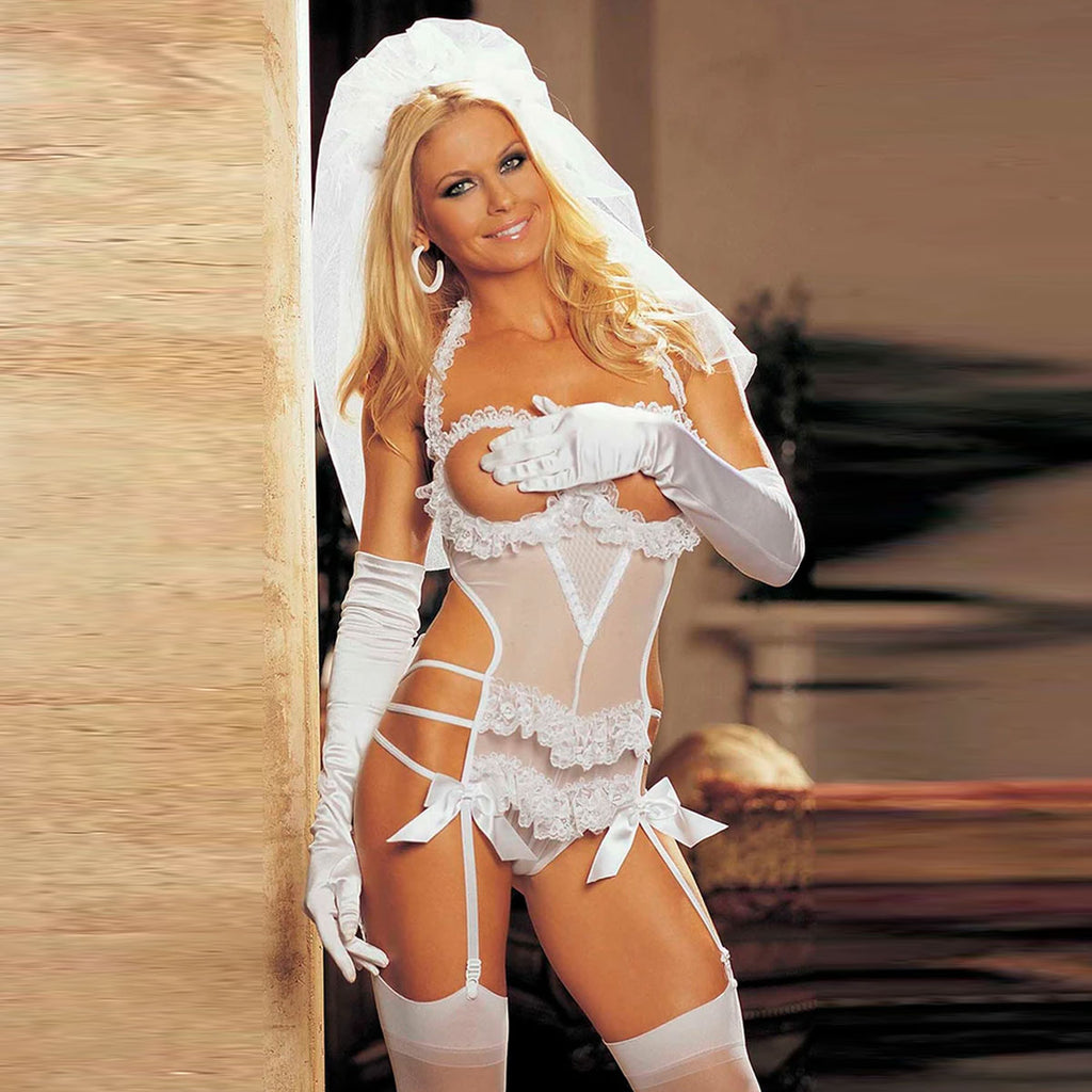 TWO PIECE OPEN BUST BRIDAL TEDDY SET