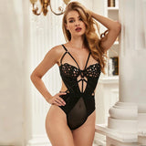 Black Lace Splicing Exquisite Hollow Out Cup Teddy With Underwire