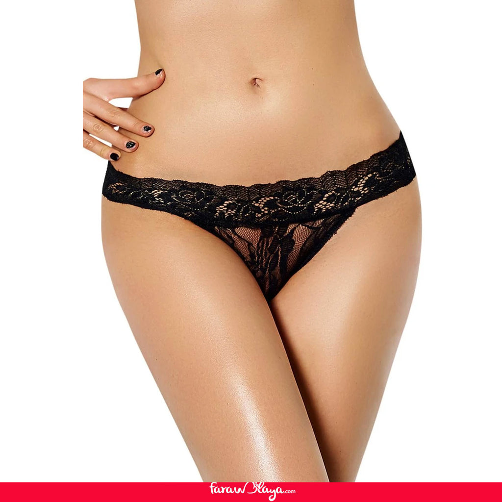 Seductive Black Floral Lace Panty