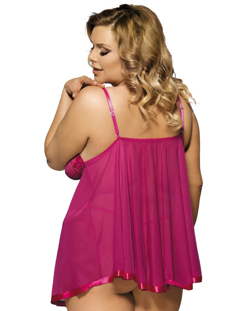 Rosy Sexy Sheer Lace Open Back Babydoll Dress