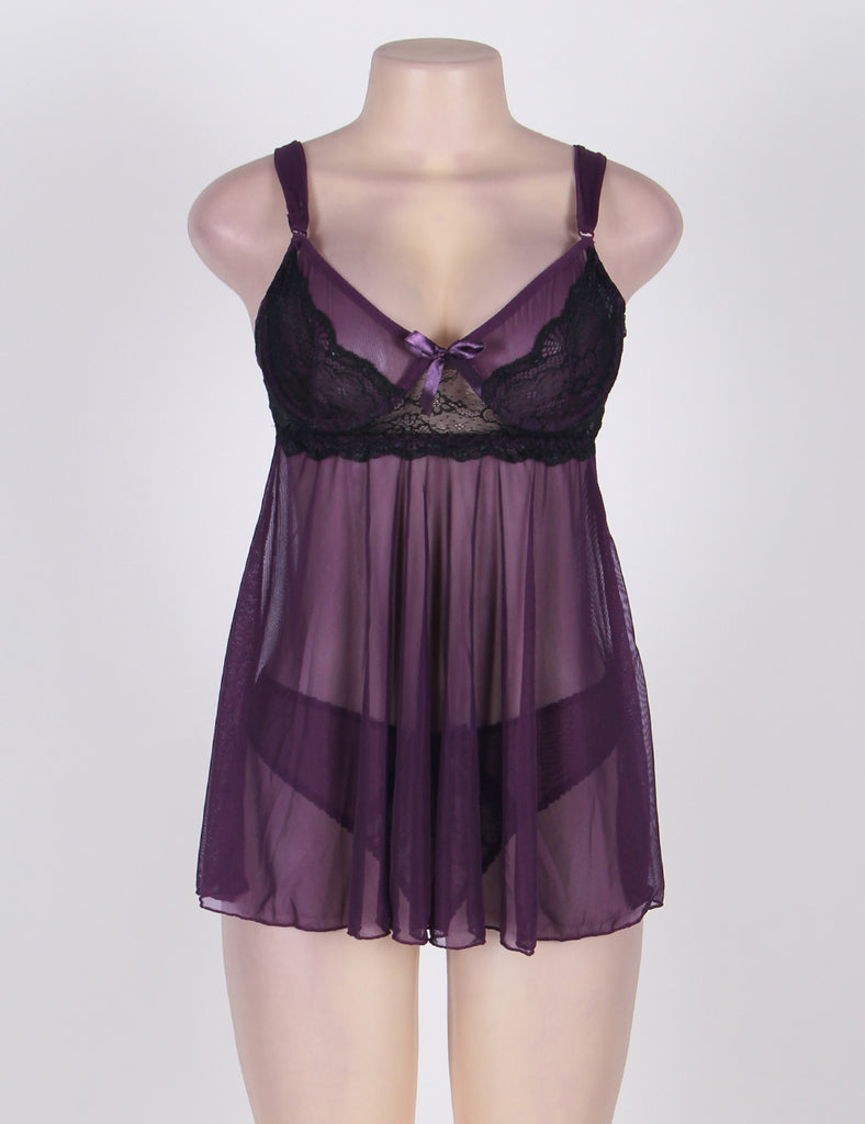 Appealing Flower Pattern Lace Transparent Violet Mini Dress